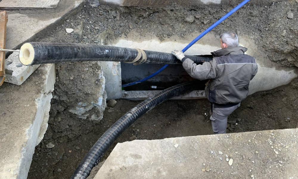 Uscita del tubo FibreFlex Pro dal tunnel dopo 120m