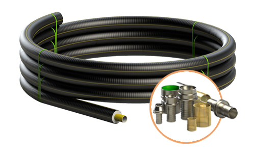 Tubo preisolato flessibile Fibreflex in PEX rinforzato per applicazioni teleriscaldamento
